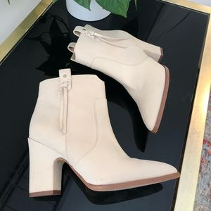 White/Cream Suede Steve Madden Ankle Booties 6.5